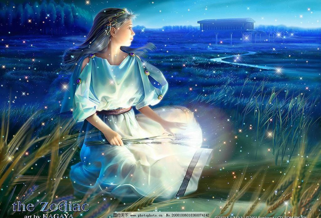 日本精美手绘 鼠绘 梦幻 理想 素材 蓝色 星座 处女 美女 稻穗 宫殿