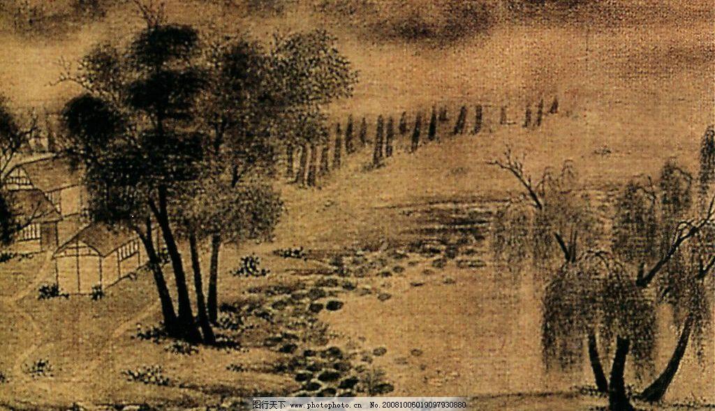 山水国画 山水 国画 石路 松树 小屋 小河 溪流 草棚 山 柳树 小路