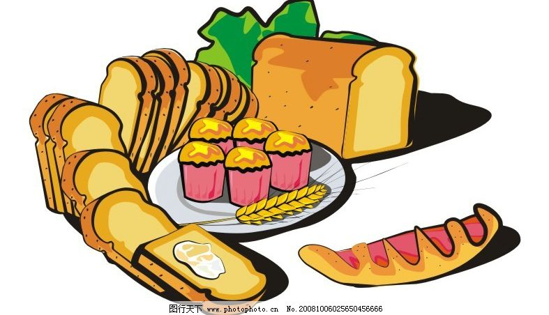 面包 超市 食物 美食 生活百科 餐饮美食 矢量图库 cdr