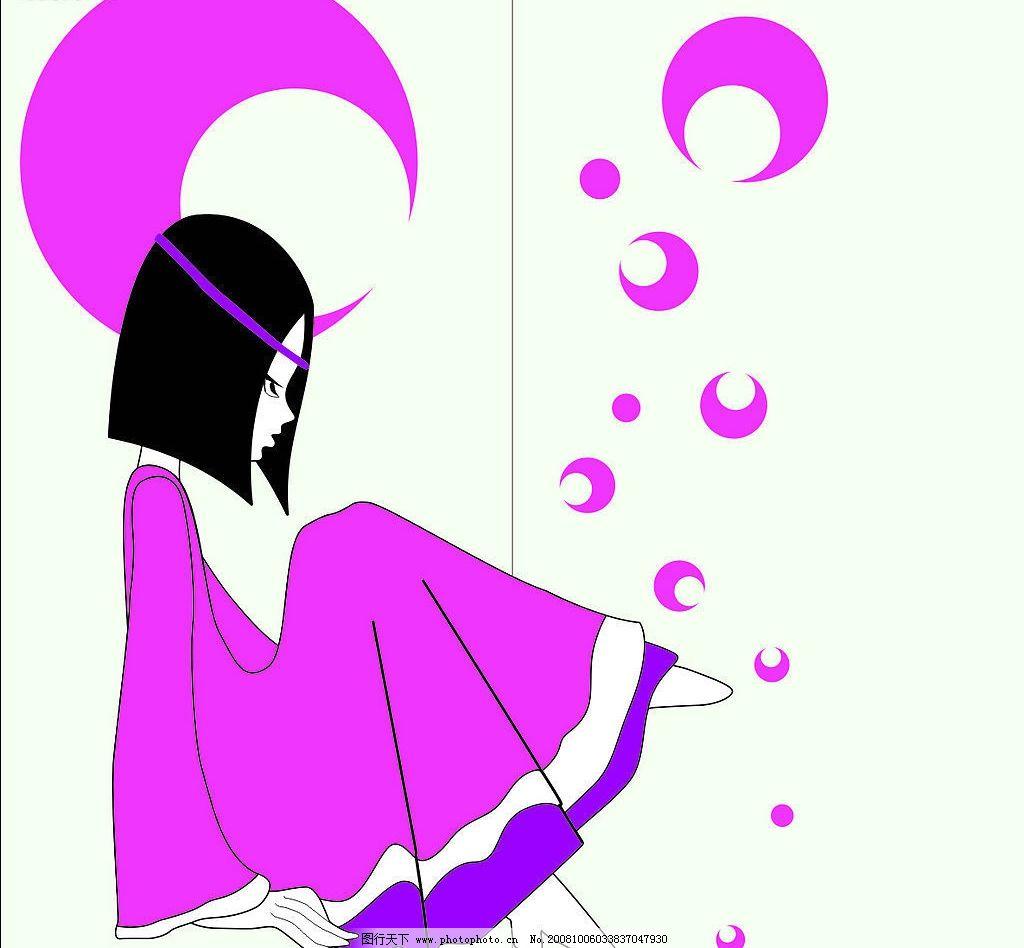 粉色卡通女孩 移动门 矢量 卡通 梦幻 可爱 女孩 其他矢量 矢量素材