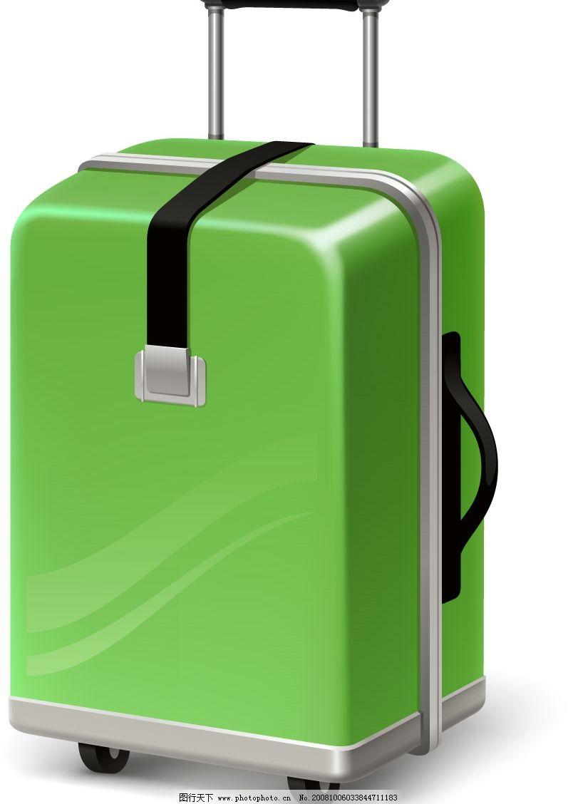 矢量 立体 绿色 旅行箱 环保 手绘 拉杆 方形 其他矢量 矢量素材 矢量