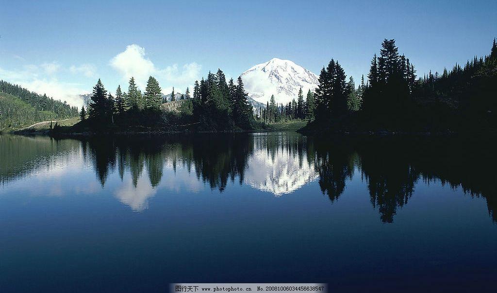 雪山风景 风景 雪山 森林 湖水 倒影 自然景观 山水风景 摄影图库 300