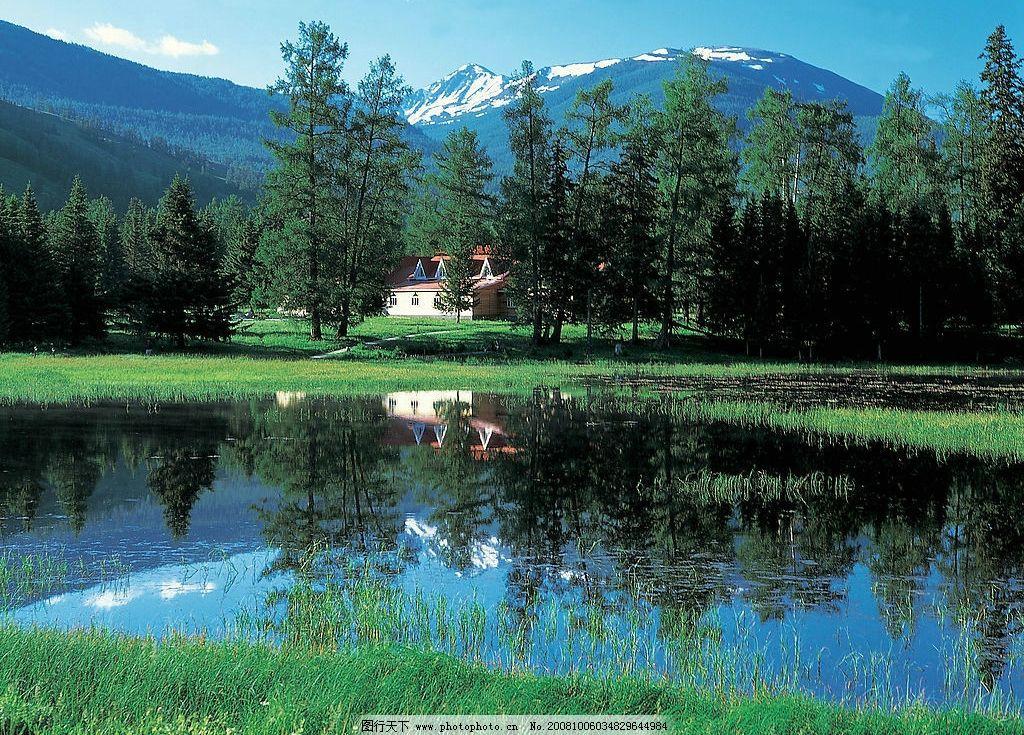 清爽 美丽 风景 山 蓝天 水树 自然景观 自然风景 摄影图库