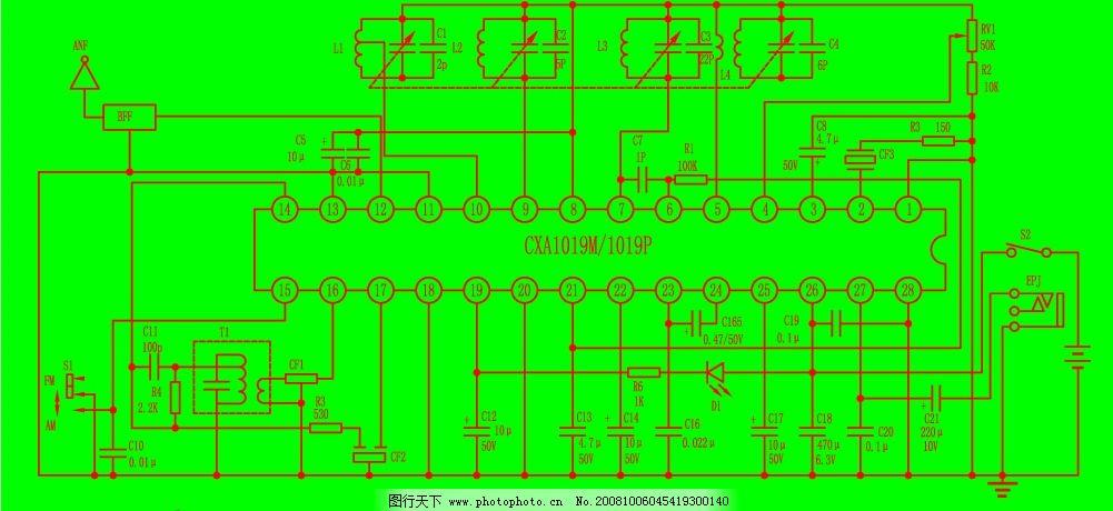 收音机电路图 cxa1019 1019 集成电路 收音机 电路图 矢量图 无线电
