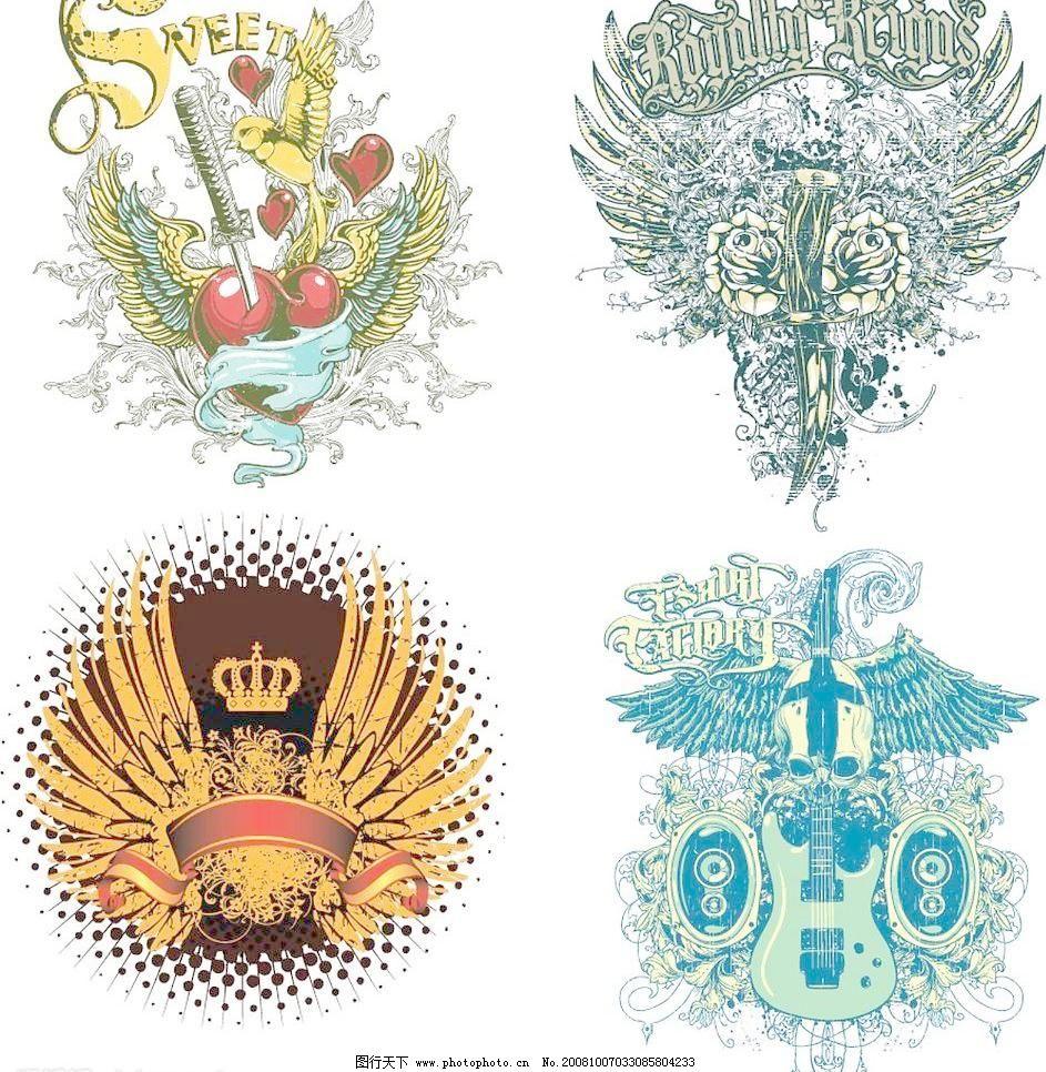 翅膀主题潮流 服装印花图案 复古 吉他 欧式设计 其他矢量 矢量素材