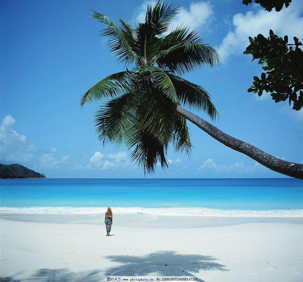 蓝天碧海 大海 沙滩 美女 白云 阳光 椰树 旅游摄影 国外旅游