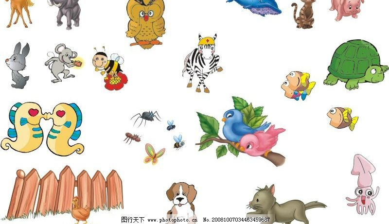 矢量卡通小动物 猪 鸡