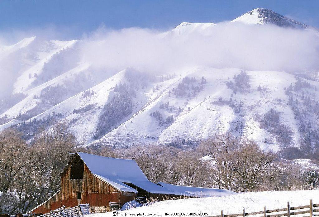 美丽雪景 树木 雪山 白雪 木屋 壁纸 自然风景 摄影图库 自然景观