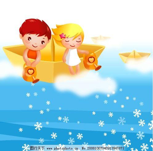 矢量卡通 人物 儿童 雪花 白云 矢量人物 儿童幼儿 卡通矢量 矢量图库