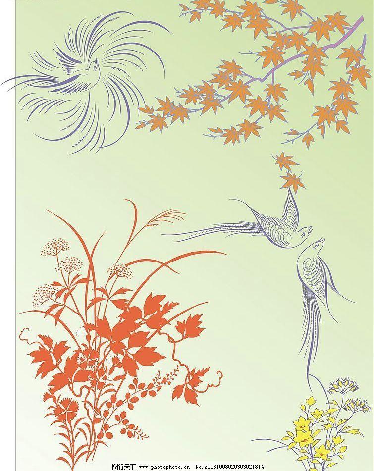 花鸟组合 花 鸟 落叶 草 枫叶 底纹边框 花纹花边 矢量图库 cdr