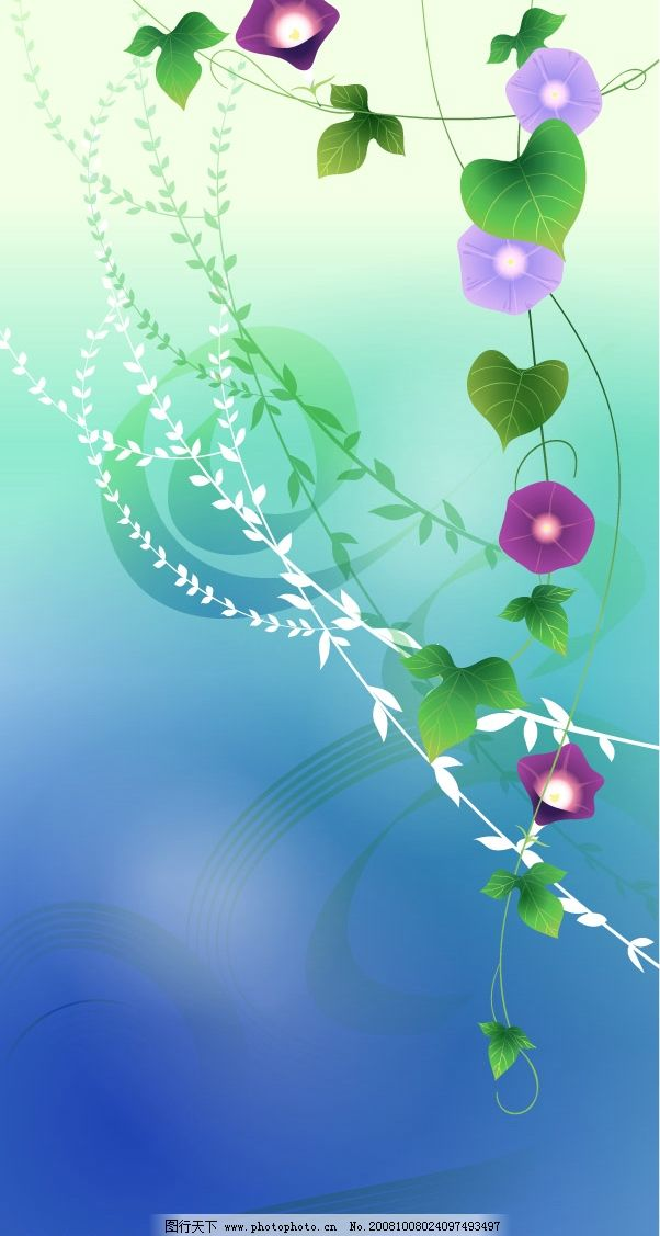 梦幻风景 风景 梦幻 矢量 背景 自然 树木 池塘 牵牛花 蓝色 花 叶子