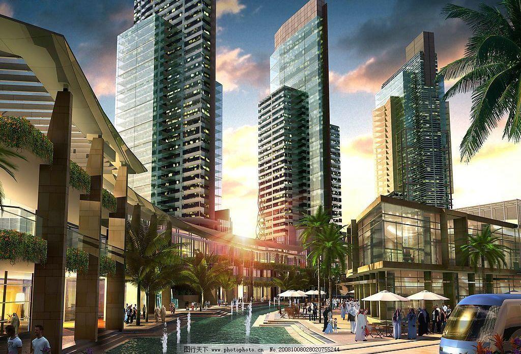 黄昏商业街 日落 商业氛围 商业人物 店铺 环境设计 建筑设计 设计