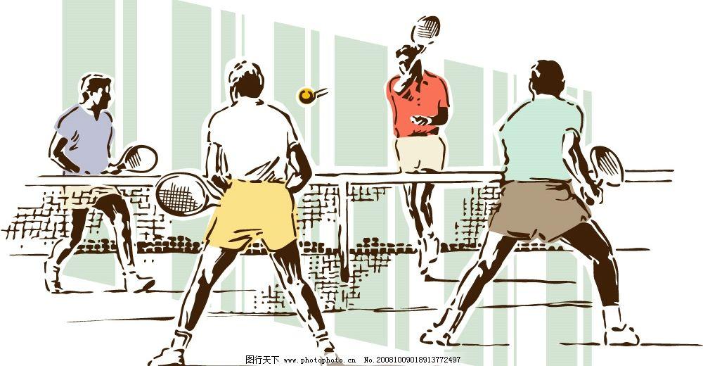 网球运动 网球 网球运动人物 文化艺术 体育运动 矢量素材系列之‖