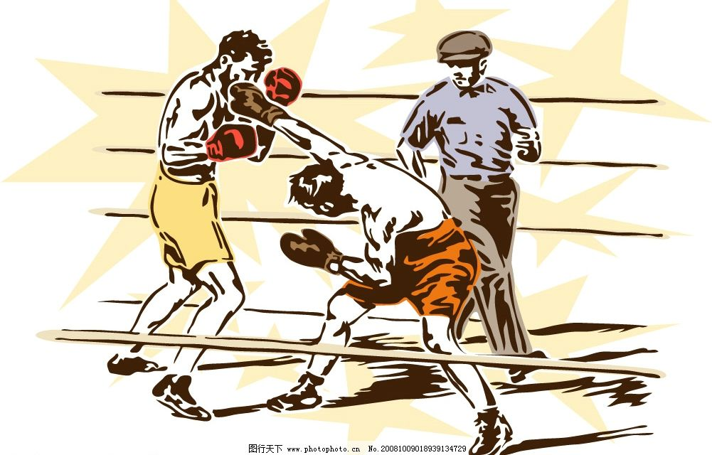 拳击运动 拳击 拳击手 拳击运动人物 文化艺术 体育运动 矢量素材系列