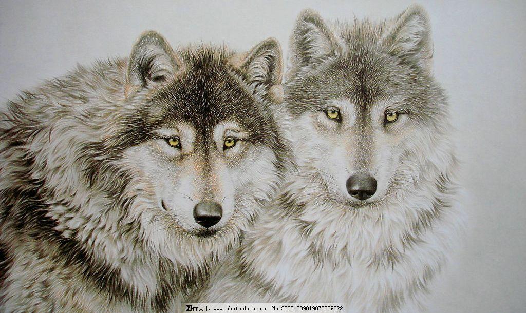 工笔画 动物世界 雪地狼影 文化艺术 美术绘画 绘画书法 设计图库 72