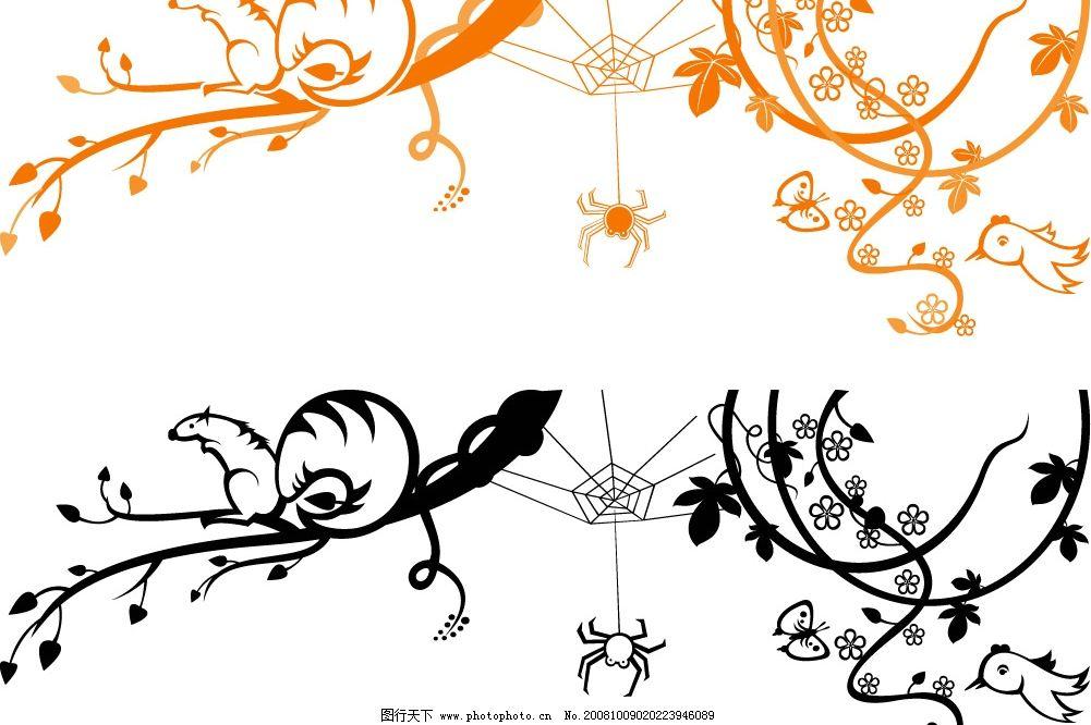 eps格式 矢量花纹 墨点 蝴蝶剪影 矢量素材 底纹边框 底纹背景 矢量