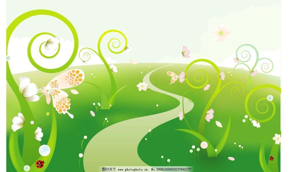 花丛蝴蝶插画 矢量化抽象花朵 草地 蝴蝶 绿色 瓢虫 矢量素材 底纹