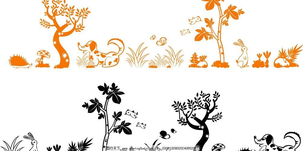 可爱动物与植物矢量图片