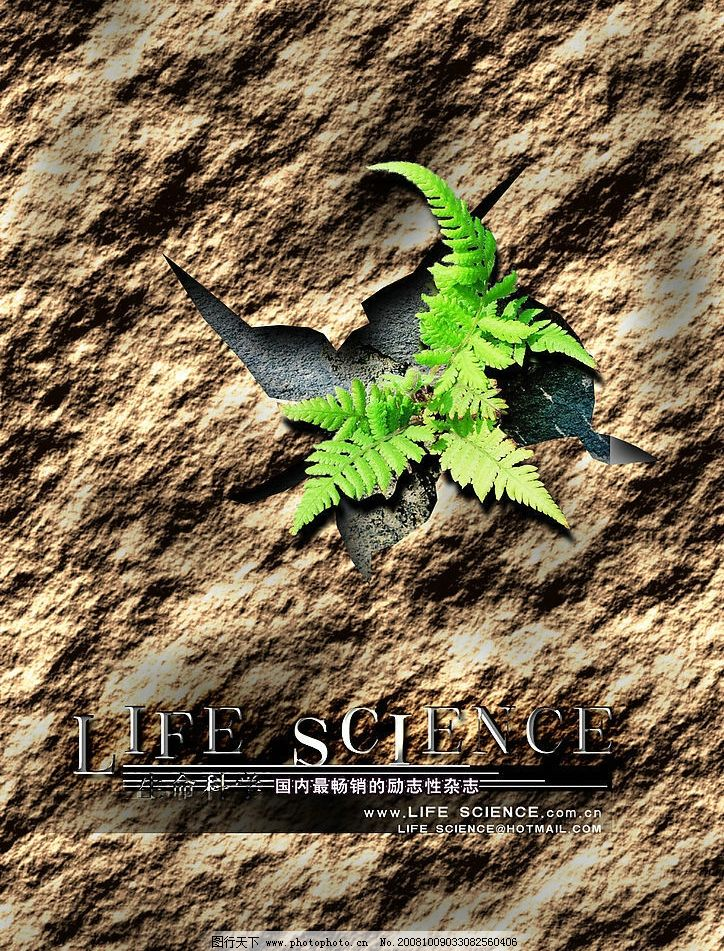 杂志宣传海报 生命科学 干裂士地 植物 源文件库