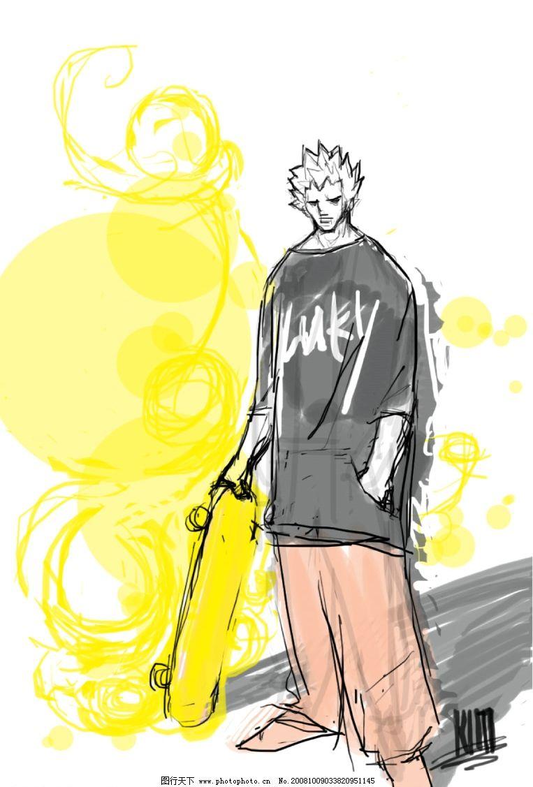 手绘涂鸦滑板男孩图片