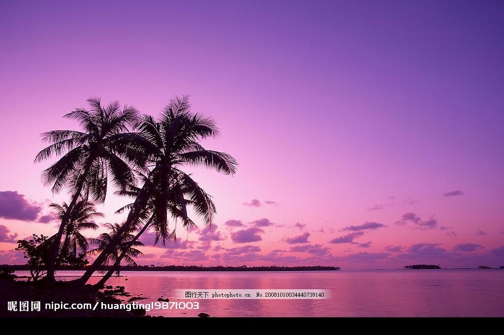 黃昏夜景 日落 晚霞 大海 風景剪影 攝影圖庫