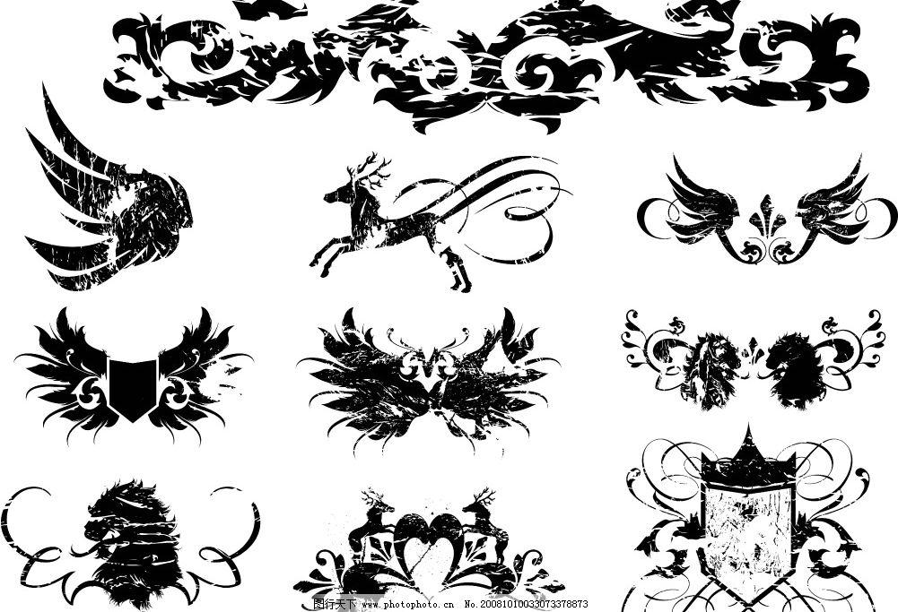 复古花纹边框 黑白 马头 欧式 源文件库