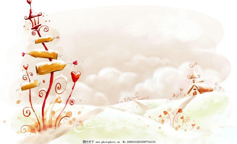 卡通 韩国风格 玻璃 移门 手绘 花 彩绘 插画 摄影素材 小草 蘑菇小屋