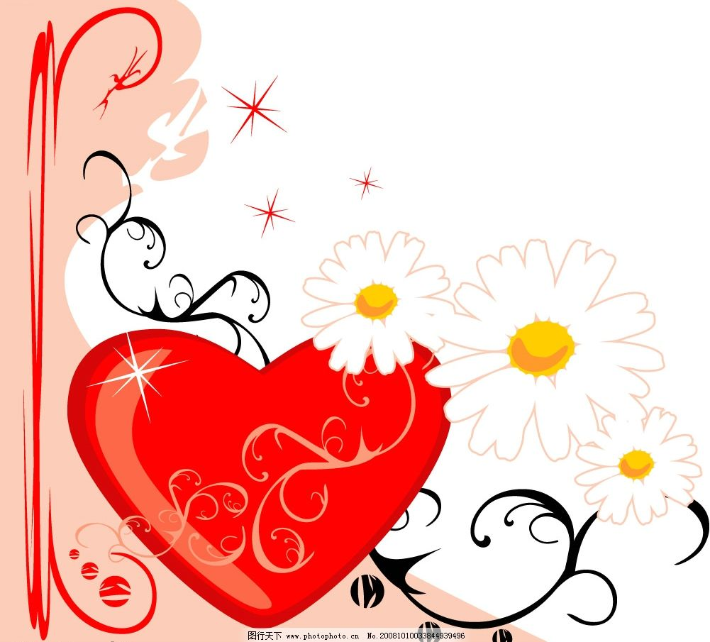 花纹 花 爱心 边框 其他矢量