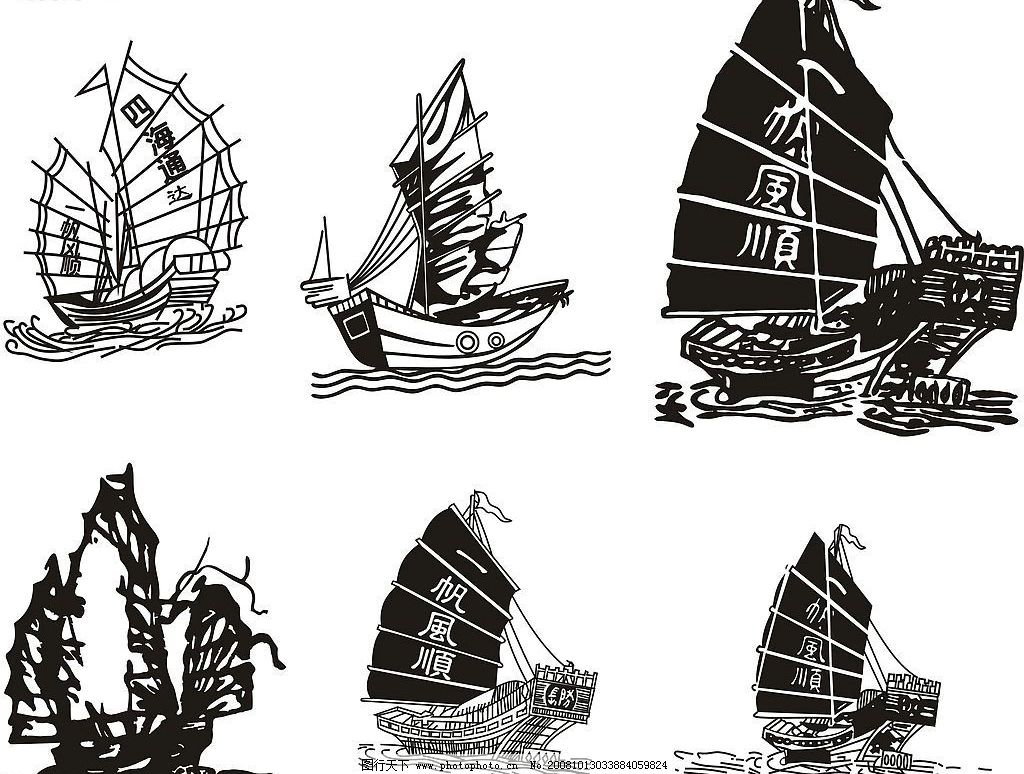 船的细节黑白装饰画素材