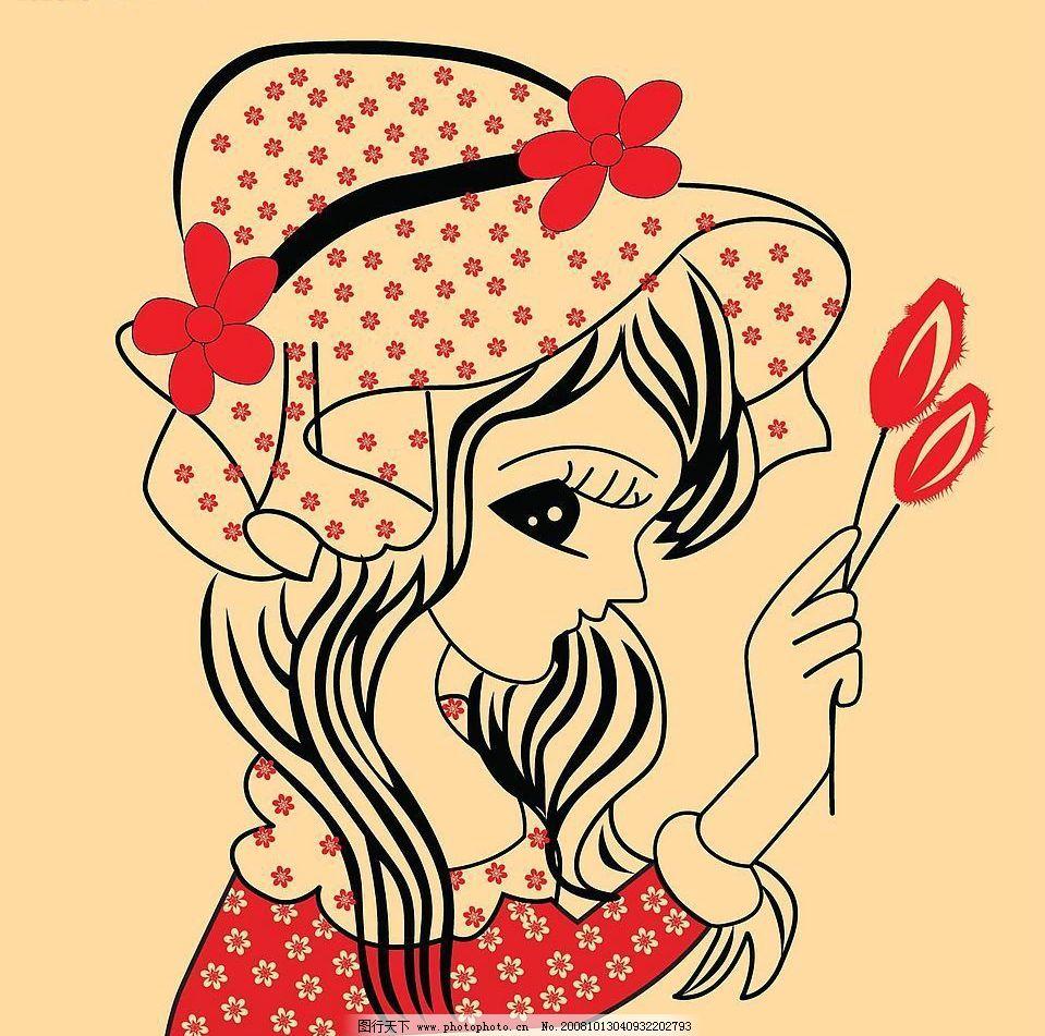 执花女孩 卡通女孩 戴帽子的女孩 矢量人物 儿童幼儿 矢量图库