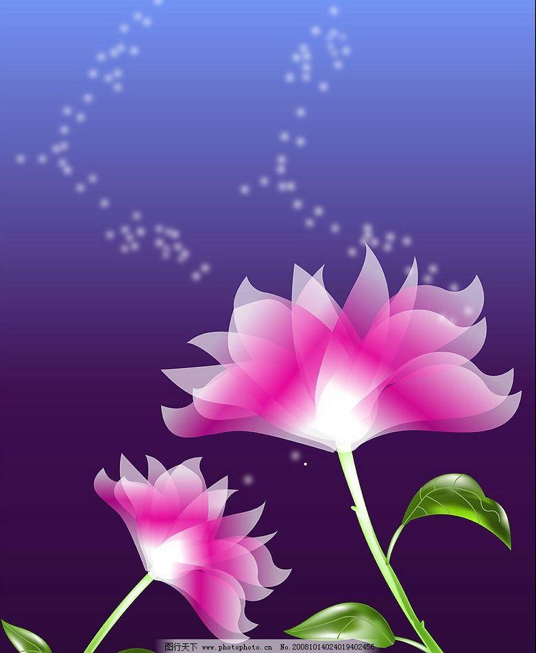 红粉世家 粉色花 绿叶 渐变色 蓝色背景 自然景观 自然风景 美丽风景