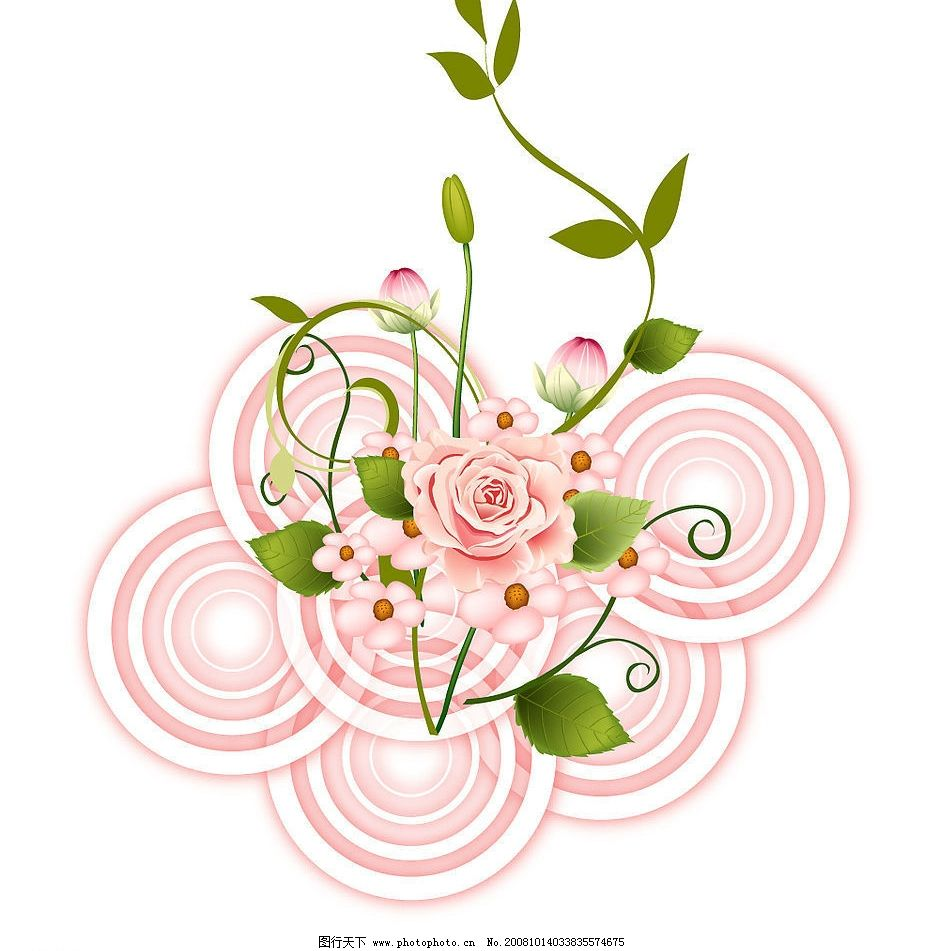 玫瑰与小花 玫瑰小花矢量 花蕾 可爱 漂亮 美丽 生动 水波 水纹