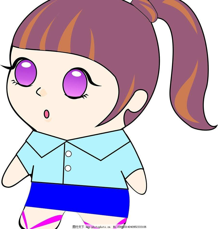 矢量的蓝领娃娃 蓝领mm 可爱 娃娃 矢量人物 儿童幼儿 矢量图库 cdr