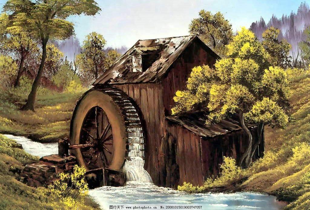小桥流水 风景 林子 手绘图 树木 美景 蓝天白云 小木屋 文化艺术