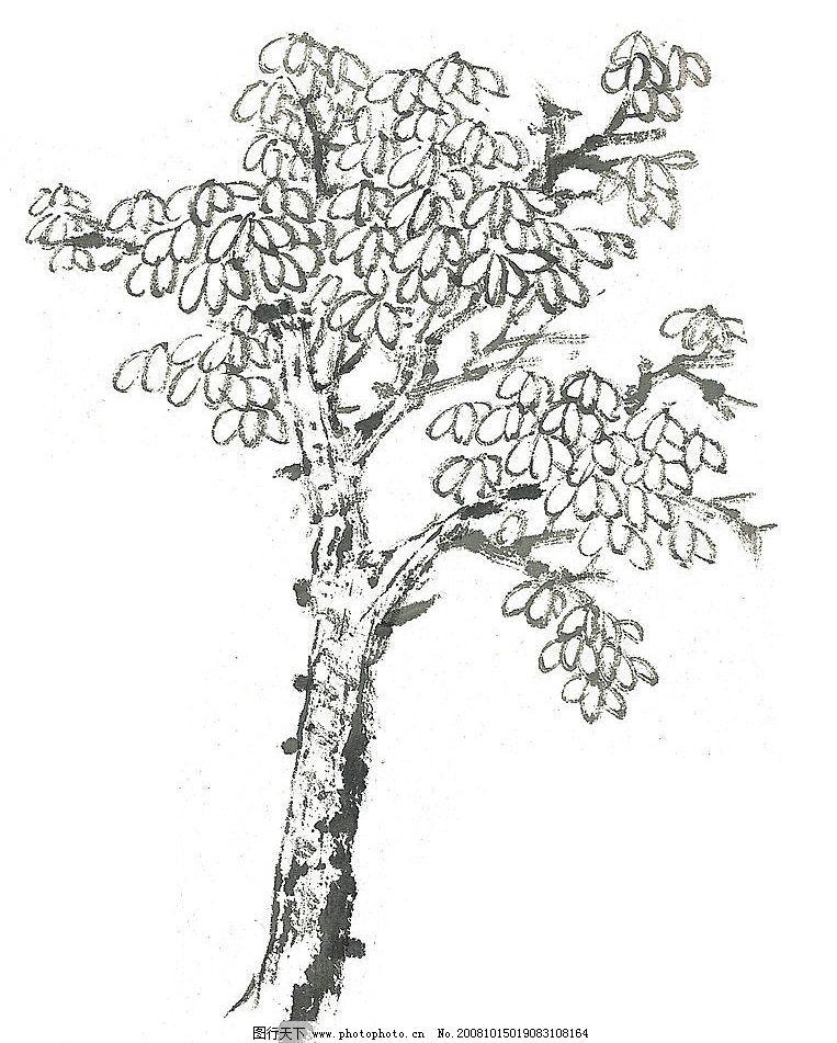 风景树木手绘线稿