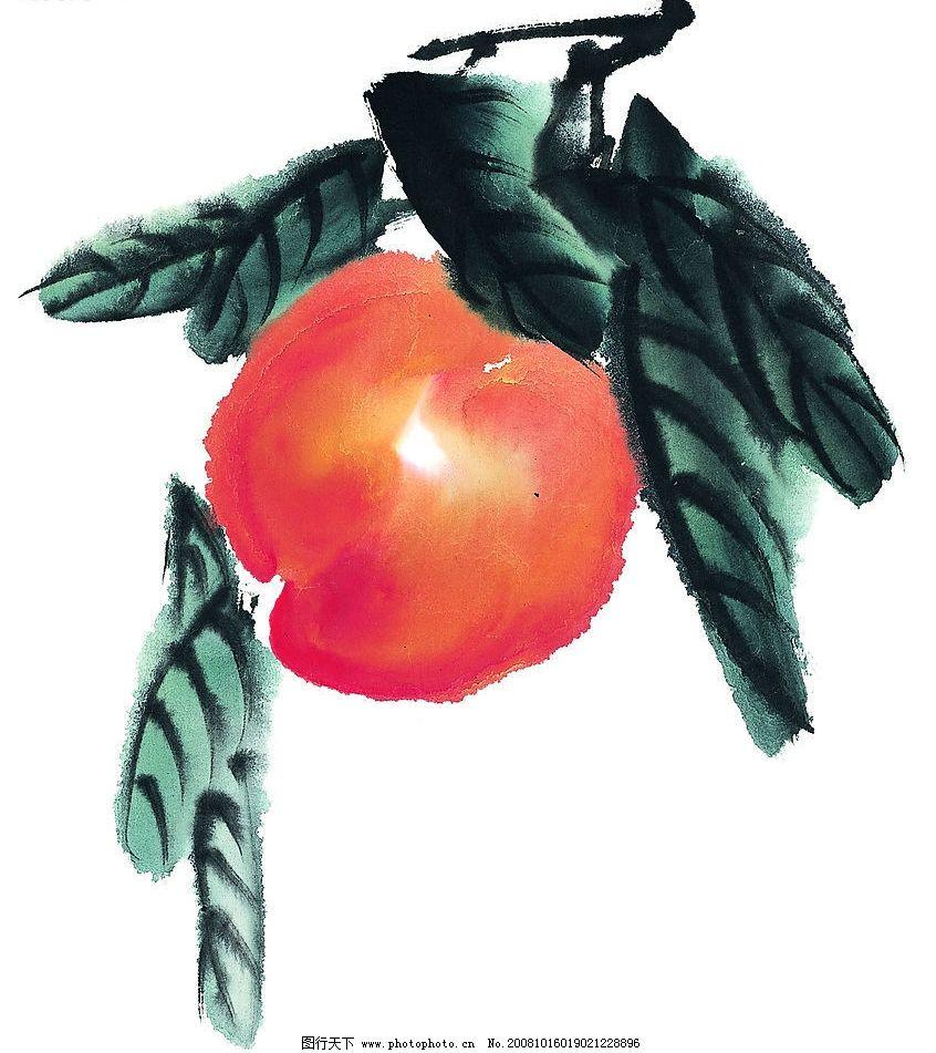 桃子 国画 艺术 水果 果树 文化艺术 绘画书法 素材 设计图库 72dpi j