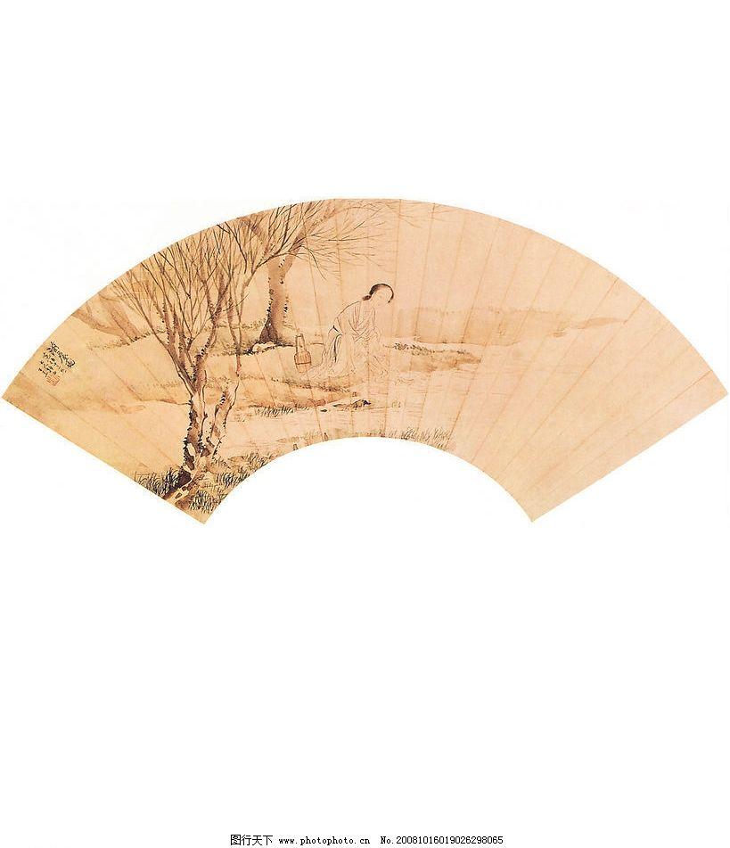 扇子 樹 人物美女 工筆畫 國畫風景 水墨畫