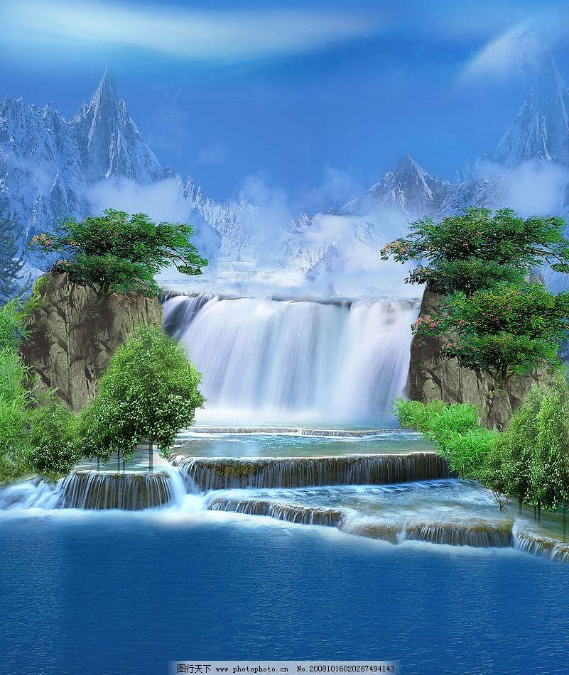 山外山 移门 山 水 自然景观 瀑布 风景 底纹边框 背景底纹 设计图库