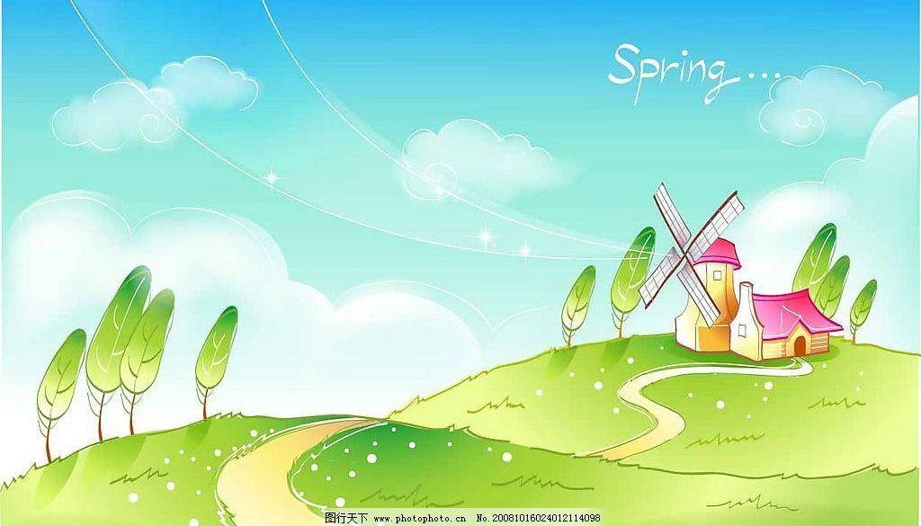 春天风景 矢量 时尚 背景 卡通 山坡 原野 房子 树路花