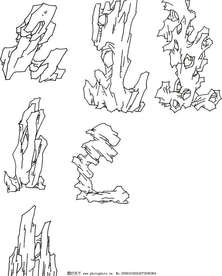 苏州园林假山手绘