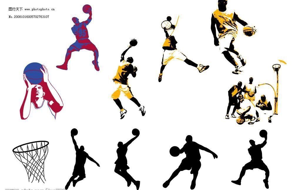 扣篮人物 扣篮人物图片免费下载 篮球 篮球运动 矢量图库 体育运动