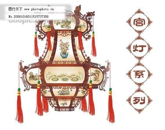 中国古典宫灯 彩绘 传统文化 灯笼 雕刻艺术 凤凰 工艺品 花纹