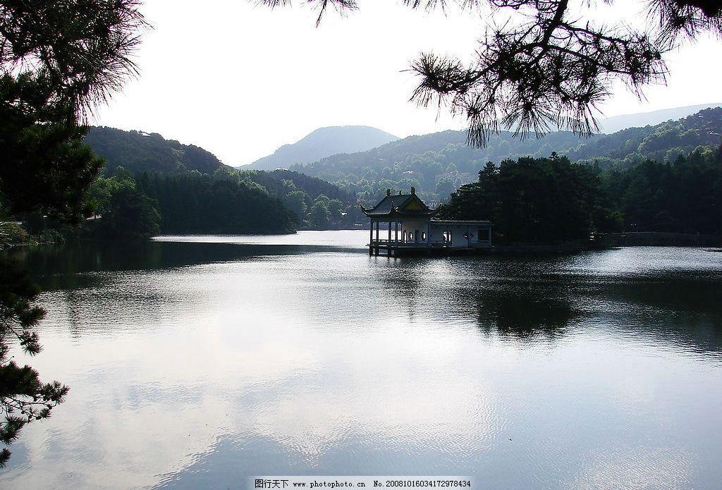 山水风景 树 高山 亭子 湖水 摄影 旅游摄影 自然风景 摄影图库