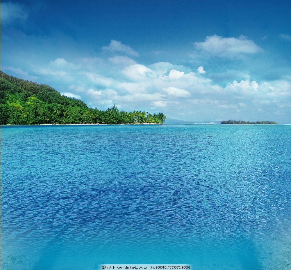 蓝天海洋岛屿海水图片