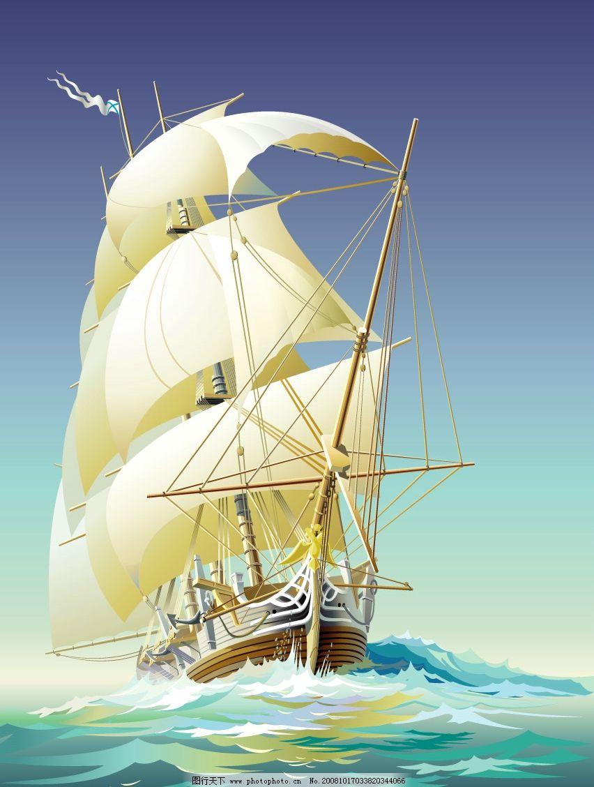 大海波涛帆船航行图片