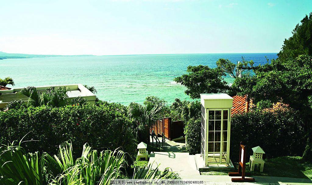 日本岛冲绳岛旅游 岛屿 风景 海滩 树林 海边 蓝天 白云 沙滩