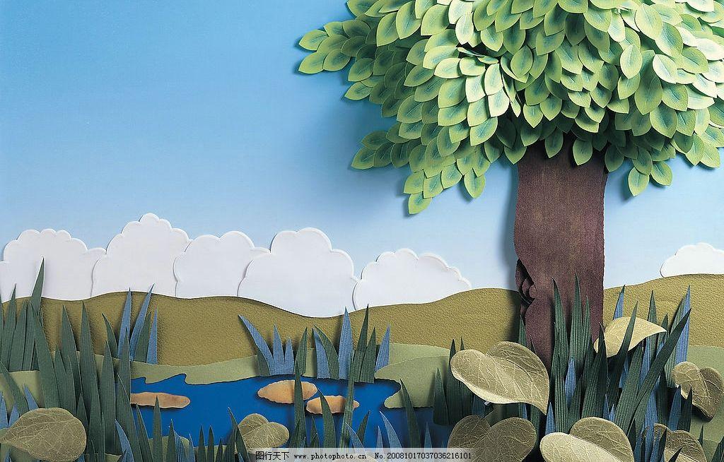 剪纸艺术 蓝天白云 树木 落叶 山岭 幼儿园装饰画 儿童作品 生活百科