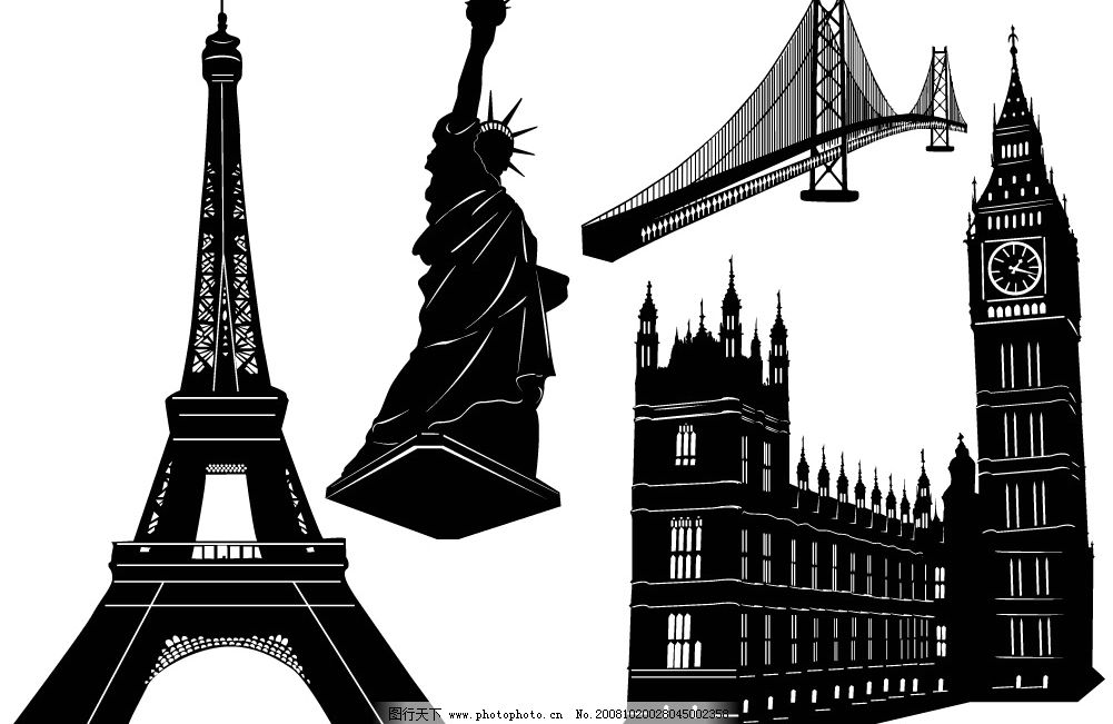 黑白著名建筑物图片