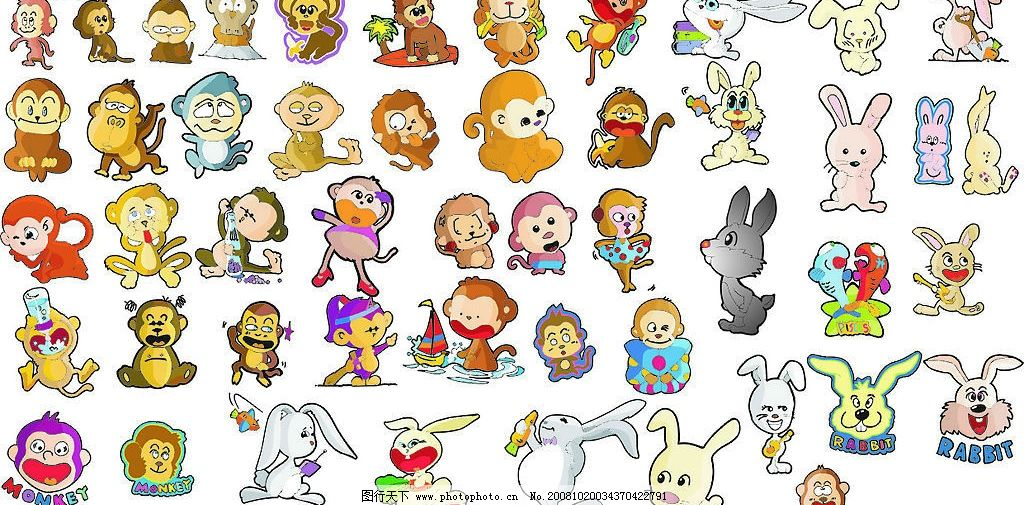 可爱的卡通兔子猴子图片