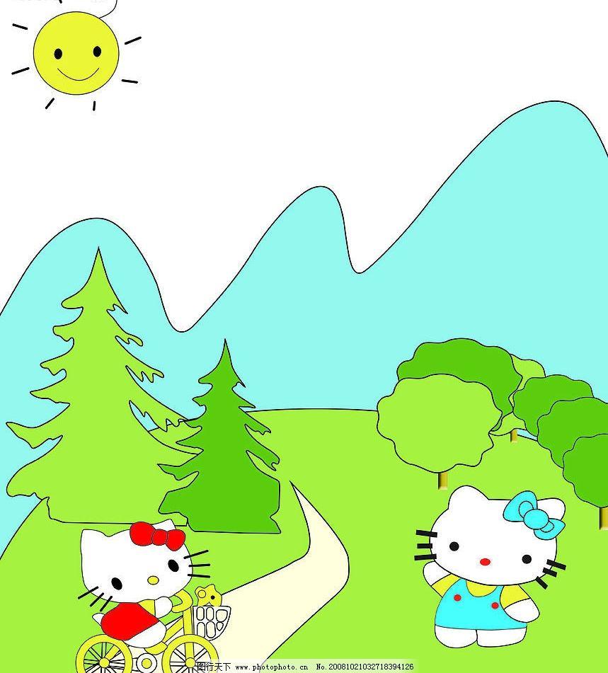 小猫散步 卡通猫 矢量图 树山 太阳 人物 源文件库